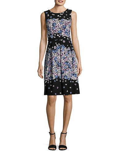 Karl Lagerfeld Paris Ditsy Floral Fit-and-Floral Dress-BERRY MULTI-6