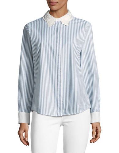 Karl Lagerfeld Paris Lace Trim Blouse-BLUE-Small