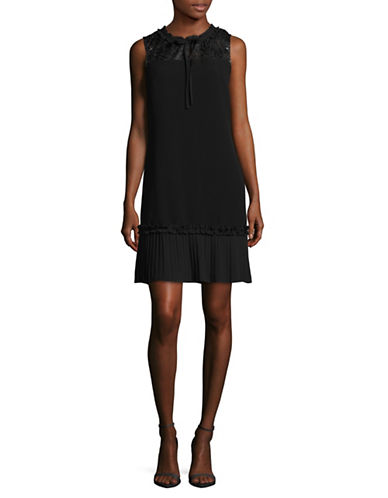 Karl Lagerfeld Paris Pleated Lace Shift Dress-BLACK-14