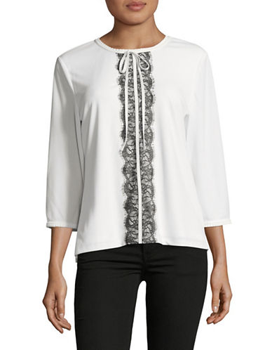 Karl Lagerfeld Paris Pleated-Neck Knit Top-WHITE/BLACK-Medium