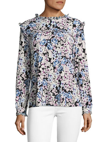 Karl Lagerfeld Paris Ruffled Floral Print Shirt-MULTI-X-Large