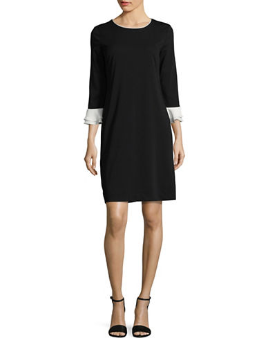 Karl Lagerfeld Paris Ruffle Shift Dress-BLACK/WHITE-8