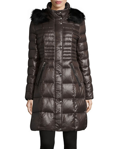 Karl Lagerfeld Paris Down-Filled Mid-Length Faux Fur Coat-ANTHRACITE-Large