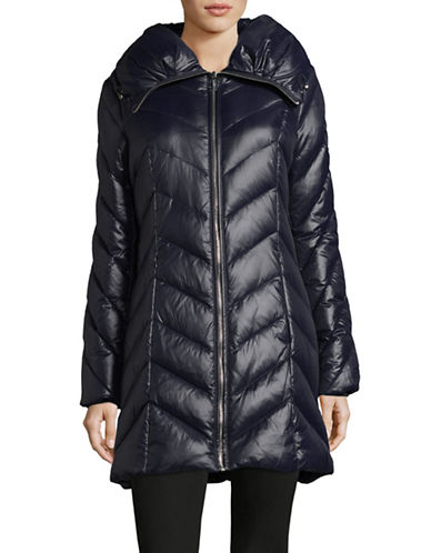 Karl Lagerfeld Paris Long Quilted Coat-PRUSSIAN BLUE-X-Small