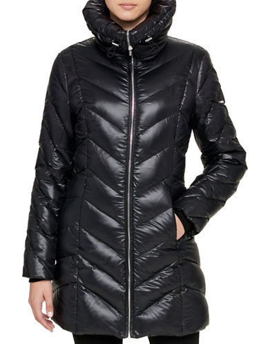 Karl Lagerfeld Paris Long Quilted Coat-BLACK-Large 89373692_BLACK_Large