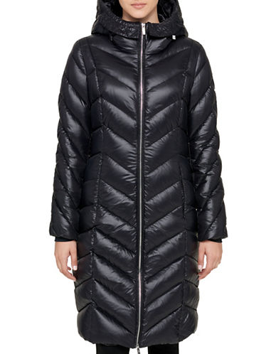Karl Lagerfeld Paris Luxe Zip-Up Hooded Coat-BLACK-Large