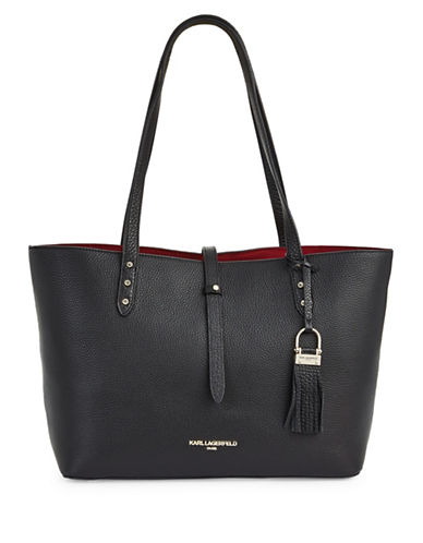 Karl Lagerfeld Paris Toby Pebble Leather Tote-BLACK-One Size