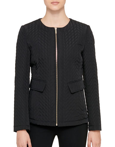 Karl Lagerfeld Paris Zip-Up Jacket-BLACK-Medium
