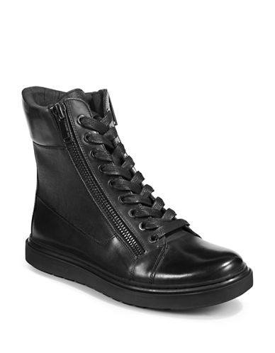 Karl Lagerfeld Leather Boot Sneakers-BLACK-10