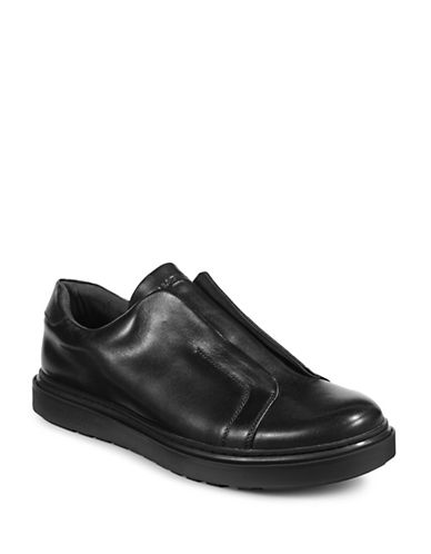 Karl Lagerfeld Laceless Leather Sneakers-BLACK-12