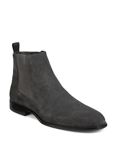 Karl Lagerfeld Suede Chelsea Boots-GREY-11
