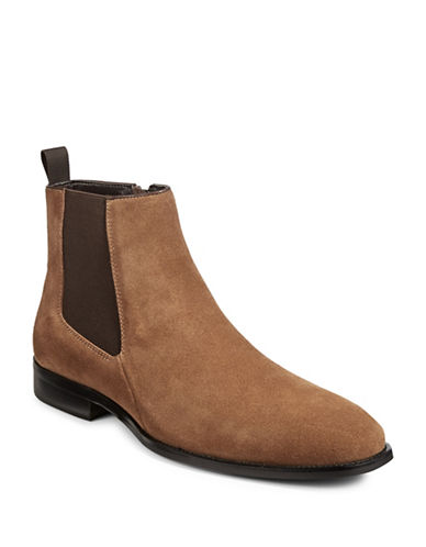 Karl Lagerfeld Suede Chelsea Boots-CAMEL-9.5