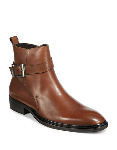 Karl Lagerfeld Buckled Leather Chelsea Boots-COGNAC-10.5