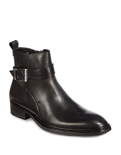 Karl Lagerfeld Buckled Leather Chelsea Boots-BLACK-10.5