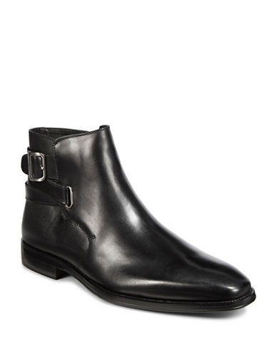 Karl Lagerfeld Buckled Textured Leather Chelsea Boots-BLACK-10.5