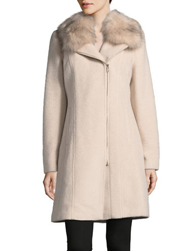 Karl Lagerfeld Paris Wool Coat with Faux Fur Trim-PALE PINK-Small