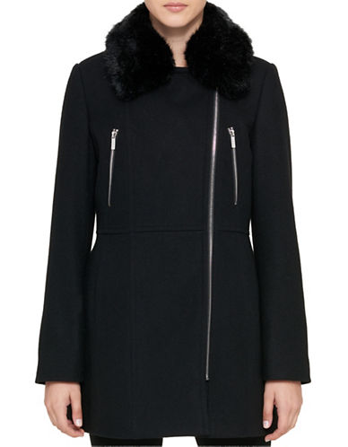 Karl Lagerfeld Paris Zip-Up Faux Fur Trimmed Coat-BLACK-Medium