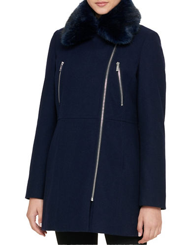 Karl Lagerfeld Paris Zip-Up Faux Fur Trimmed Coat-NAVY-X-Large