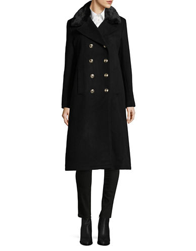 Karl Lagerfeld Paris Faux Fur Trim Long Lux Coat-BLACK-X-Large