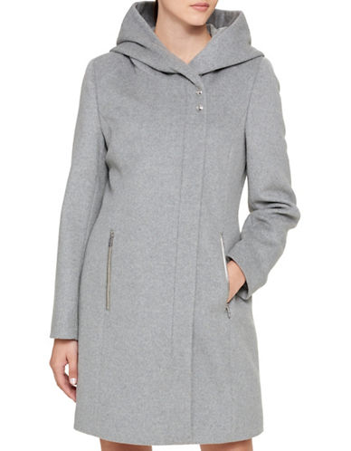 Karl Lagerfeld Paris Lux Hooded Coat-MEDIUM GREY-Large