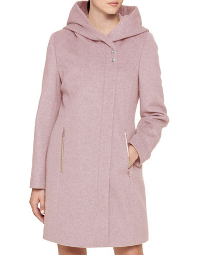 Karl Lagerfeld Paris Lux Hooded Coat-BLUSH-Small