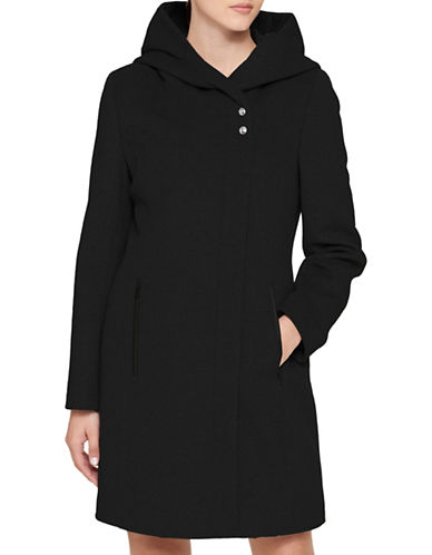 Karl Lagerfeld Paris Lux Hooded Coat-BLACK-Medium