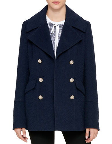 Karl Lagerfeld Paris Textured Notch Peacoat-NAVY-Large