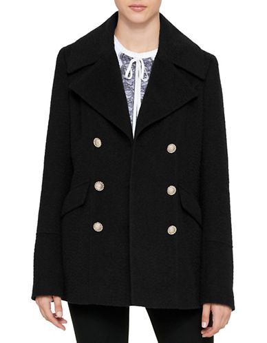 Karl Lagerfeld Paris Textured Notch Peacoat-BLACK-Small