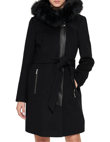 Karl Lagerfeld Paris Luxe Faux Fur Trimmed Belted Coat-BLACK-Medium