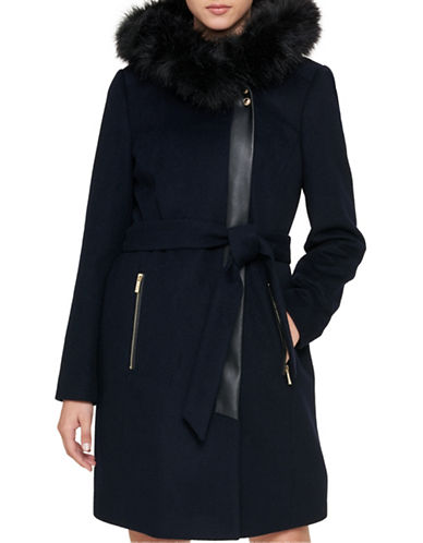 Karl Lagerfeld Paris Luxe Faux Fur Trimmed Belted Coat-NAVY-X-Small