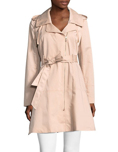 Karl Lagerfeld Paris Luxe Crinkle Rain Coat-BLUSH-Small