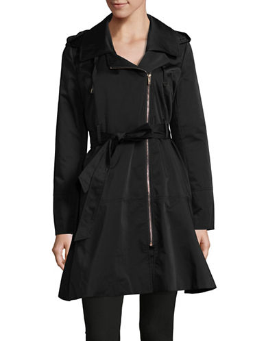 Karl Lagerfeld Paris Luxe Crinkle Rain Coat-BLACK-X-Small
