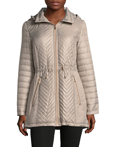 Karl Lagerfeld Paris Zip-Up Hooded Coat-STONE-Small