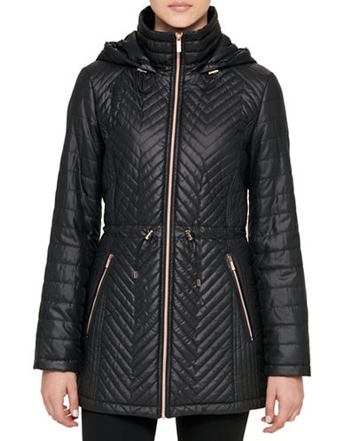 Karl Lagerfeld Paris Zip-Up Hooded Coat-BLACK-Small
