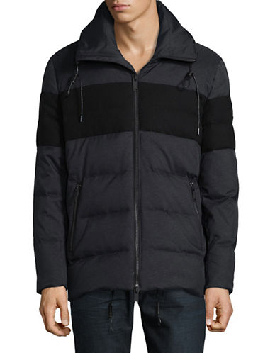 Karl Lagerfeld Colourblock Zip-Front Puffer Jacket-CHARCOAL-X-Large