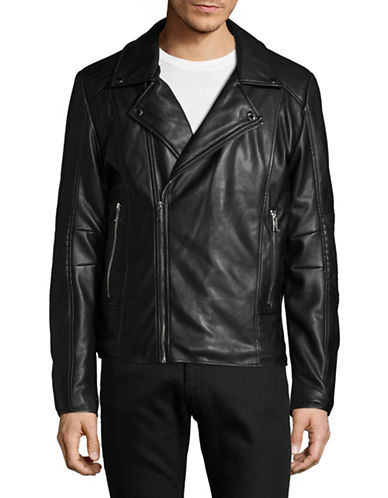 Karl Lagerfeld Faux Fur-Lined Biker Jacket-BLACK-Medium
