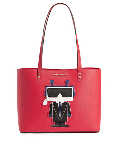 Karl Lagerfeld Paris Choupette Saffiano Leather Tote-RED-One Size