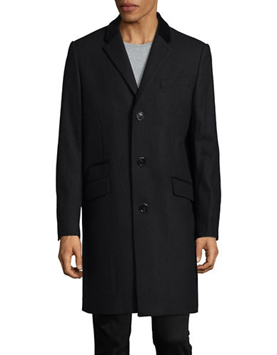 Karl Lagerfeld Wool-Blend Topcoat-NAVY-Small