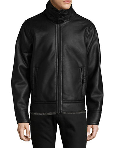 Karl Lagerfeld Faux-Shearling Trimmed Zip-Front Jacket-BLACK-Small