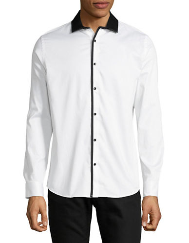 Karl Lagerfeld Contrast Trim Sport Shirt-WHITE-Large