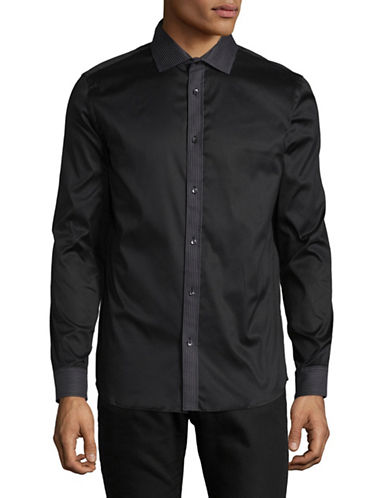 Karl Lagerfeld Embroidered Sport Shirt-BLACK-Large
