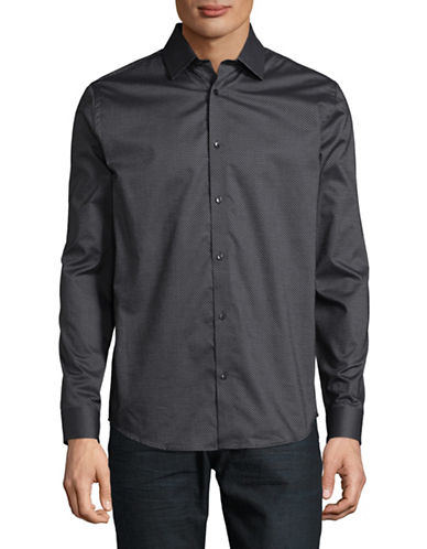Karl Lagerfeld Jacquard Cotton Sport Shirt-GREY-X-Large