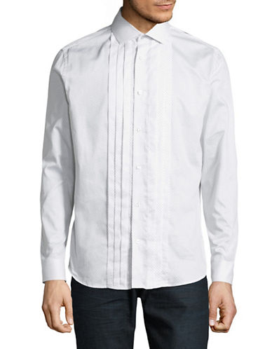 Karl Lagerfeld Pleated Sport Shirt-WHITE-Large