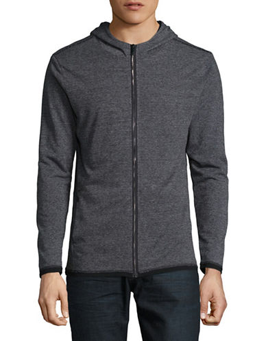 Karl Lagerfeld Zip-Up Hoodie-GREY-Large