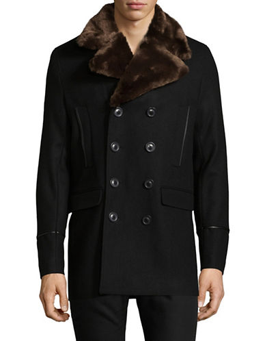 Karl Lagerfeld Faux Fur Collared Peacoat-BLACK-X-Large