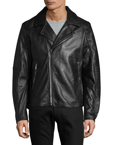 Karl Lagerfeld Leather Motorcycle Jacket-BLACK-Large