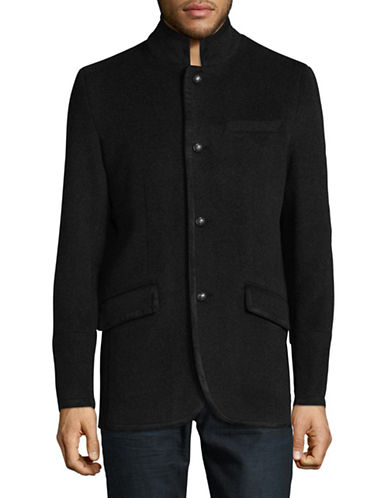 Karl Lagerfeld Wool-Blend Military Blazer-CHARCOAL-Large