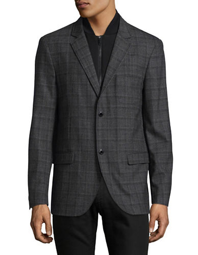 Karl Lagerfeld Glen Plaid Blazer with Gilet-GREY-XX-Large
