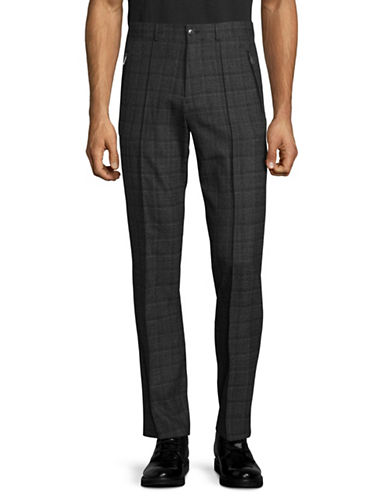 Karl Lagerfeld Plaid Pintuck Trousers-GREY-34