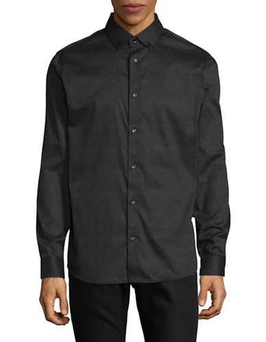 Karl Lagerfeld Abstract Printed Shirt-BLACK-X-Large